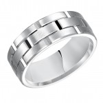 Goldman 14k White Gold Mens Comfort-Fit Wedding Band 11-8300W8-G.01