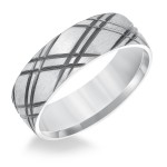 Goldman 14k White Gold Mens Comfort-Fit Wedding Band 11-8566W65-G.00
