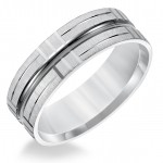 Goldman 14k White Gold Mens Comfort-Fit Wedding Band 11-8579W7-G.00