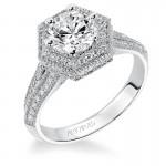 Artcarved 31-V373FRW-E.00 Halo 14k White Gold Ladies  Engagement Ring