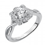 Artcarved 31-V381ERW-E.00 Halo 14k White Gold Ladies  Engagement Ring