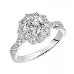 Artcarved 31-V452ERW-E.00 Halo 14k White Gold Ladies  Engagement Ring