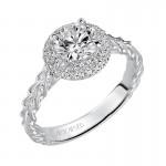 Artcarved 31-V463ERW-E.00 Halo 14k White Gold Ladies  Engagement Ring