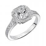 Artcarved 31-V475ERW-E.00 Halo 14k White Gold Ladies  Engagement Ring