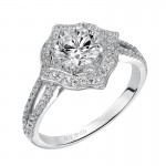 Artcarved 31-V478ERW-E.00 Halo 14k White Gold Ladies  Engagement Ring