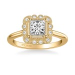 Artcarved 31-V828ECY-E Vintage 14k Yellow Gold Ladies Mabel Engagement Ring
