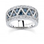 Barkevs White Gold Band With White & Blue Diamonds  6094LBDW