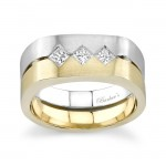 Two Tone Princess Cut Diamond Wedding Band 6912G