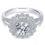 Gabriel & Co 14K White Gold Diamond Double Pave Halo With Channel Split Shank Engagement Ring ER75 ER7542W44JJ