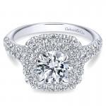Gabriel & Co 14K White Gold Diamond Double Pave Halo Round Engagement Ring ER10754W44Jj
