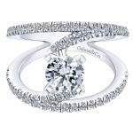 Gabriel & Co 14K White Gold Diamond French Pave Split Shank Renewal Engagement Ring ER12416R4W44Jj