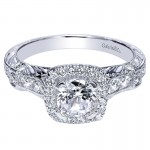Gabriel & Co 14K White Gold Diamond Halo Engagement Ring ER9093W44JJ