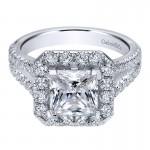 Gabriel & Co 14K White Gold Diamond Halo Engagement Ring ER9783W44JJ