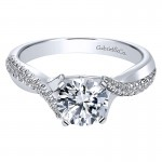 Gabriel & Co 14K White Gold Diamond Pave Criss Cross With Cathedral Setting Engagement Ring ER10951W44JJ