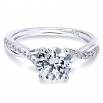 Gabriel & Co 14K White Gold Diamond Pave Criss Cross With Cathedral Setting Engagement Ring ER11794R3W44JJ