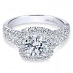 Gabriel & Co 14K White Gold Diamond Pave Split Shank Halo Engagement Ring ER10252W44Jj