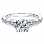 Gabriel & Co 14K White Gold Diamond Straight Channel Set Engagement Ring ER12324R3W44Jj