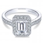 Gabriel & Co 14K White Gold Emerald Cut Diamond Halo With Channel Setting Engagement Ring ER7528W4 ER7528W44JJ