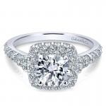 Gabriel & Co 14K White Gold Graduating Pave Diamond Round Halo Engagement Ring ER10287W44Jj