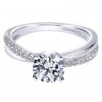 Gabriel & Co 14K White Gold Pave Criss Cross Round Diamond Engagement Ring ER10439W44Jj