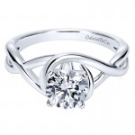 Gabriel & Co 14K White Gold Polished Criss Cross With Four Prong Setting Engagement Ring ER9179W4J
