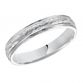 Goldman 14k White Gold Mens Comfort-Fit Wedding Band 11-10K4W6-G.00