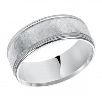 Goldman 14k White Gold Mens Comfort-Fit Wedding Band 11-12S4W8-G.00