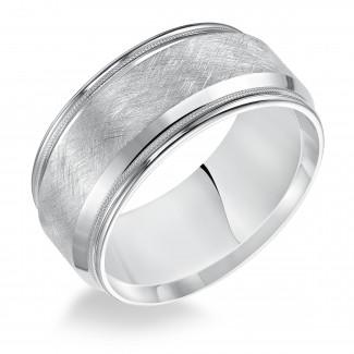 Goldman 14k White Gold Mens Comfort-Fit Wedding Band 11-14T4W10-G.00