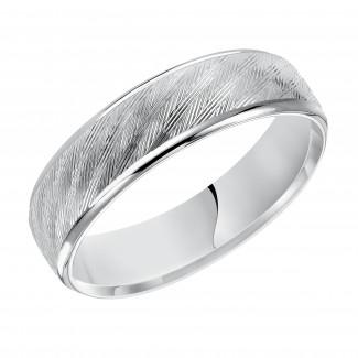 Goldman 14k White Gold Mens Comfort-Fit Wedding Band 11-15C4W6-G.00