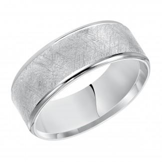 Goldman 14k White Gold Mens Comfort-Fit Wedding Band 11-15T4W8-G.00