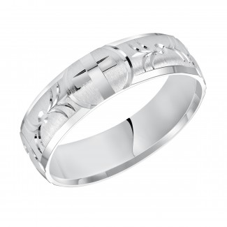 Goldman 14k White Gold Mens Comfort-Fit Wedding Band 11-8054W-G.00