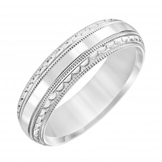 Goldman 14k White Gold Mens Comfort-Fit Wedding Band 11-8129W-G.00