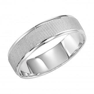 Goldman 14k White Gold Mens Comfort-Fit Wedding Band 11-8268W-G.00