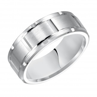 Goldman 14k White Gold Mens Comfort-Fit Wedding Band 11-8301W8-G.01