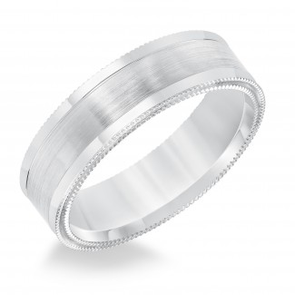 Goldman 14k White Gold Mens Comfort-Fit Wedding Band 11-8633W65-G.00