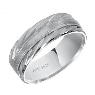 Artcarved 11-WV7460W7  14k White Gold Mens  Wedding Band