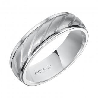 Artcarved 11-WV7462W6  14k White Gold Mens  Wedding Band