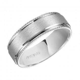 Artcarved 11-WV7463W7  14k White Gold Mens  Wedding Band