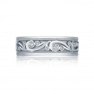 Tacori 127-7D  Platinum Mens Sculpted Crescent Wedding Band