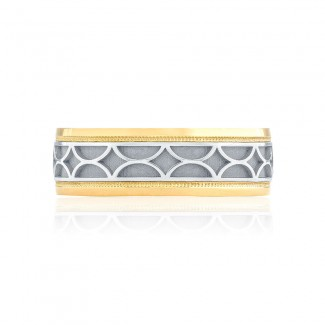 Tacori 133-7WY  18k White and Yellow Gold Mens Sculpted Crescent Wedding Band