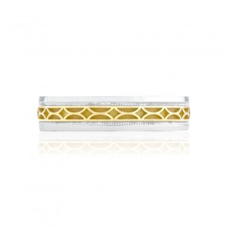 Tacori 134-5WY  18k White and Yellow Gold Mens Sculpted Crescent Wedding Band