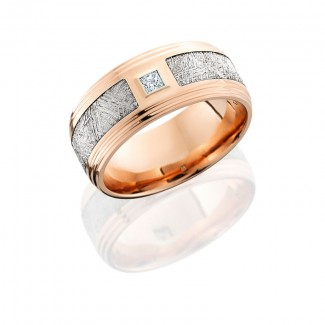 Lashbrook 14K Rose Gold 9mm Flat Band With Double Grooved Edges. Meteorite Inlay With A .10Ct Prince