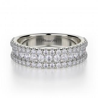 MICHAEL M 18k White Gold Wedding Band R396B-18W