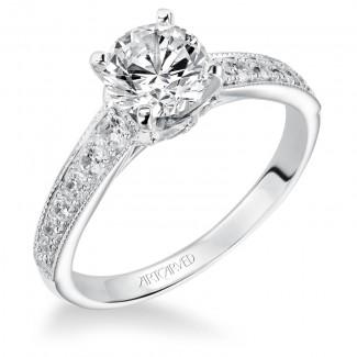 Artcarved 31-V203ERW-E.00 Vintage 14k White Gold Ladies  Engagement Ring
