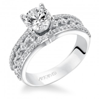 Artcarved 31-V208ERW-E.00 Contemporary 14k White Gold Ladies  Engagement Ring