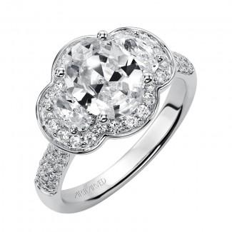 Artcarved 31-V377GVW-E.00 Halo 14k White Gold Ladies  Engagement Ring