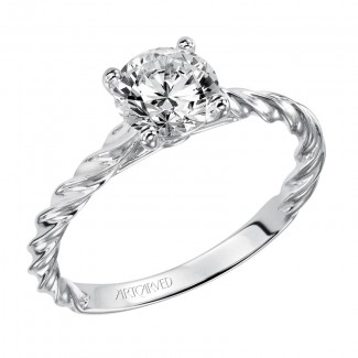 Artcarved 31-V460ERW-E.00 Solitaire 14k White Gold Ladies Joanna Engagement Ring