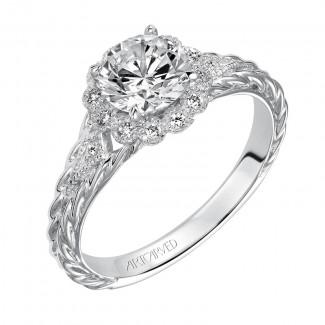 Artcarved 31-V462ERW-E.00 Halo 14k White Gold Ladies  Engagement Ring