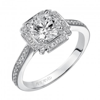 Artcarved 31-V474ERW-E.00 Halo 14k White Gold Ladies  Engagement Ring