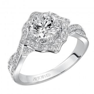 Artcarved 31-V477ERW-E.00 Halo 14k White Gold Ladies  Engagement Ring